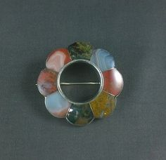 Antique-Victorian-Sterling-Silver-Brooch-Scottish-Agate-Pin-Pebble-Jewelry-Large