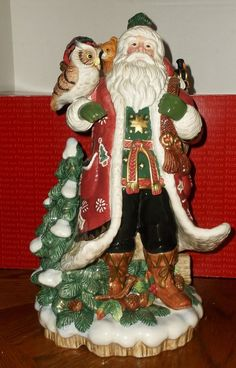 Fitz & Floyd Christmas Lodge Santa Claus w/ Wildlife Centerpiece Figurine MIB #FitzFloyd