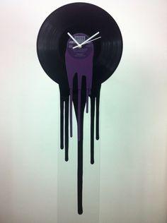 Retro purple clock Modern Melting vinyl clock Rare Record art. Dali. Fashionable Dj music Home decor art deco unique wall clock Reformations by ReformationsUK on Etsy https://www.etsy.com/listing/223254551/retro-purple-clock-modern-melting-vinyl
