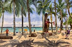 An original watercolor painting by Hawaii artist Colleen Sanchez. So many people visit this statue of the great waterman here in Waikiki, I was finally compelled to create a painting. Seascape Paintings, Watercolor Paintings, Original Art, Original Paintings, Watercolors, Duke, Hawaii, Creativity, Fine Art
