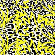 RO149 Animal Graffiti Yellow | Printed Lycra Fabric | Printed Fabric | Stretch Fabric | Funki Fabrics | Animal Print