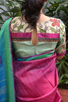 blouse designs Saree Envy Sale - Buy Unique Designer High Quality Hand Crafted Sarees using Historical Hand Loom, Block Print, and Embroidered Techniques. Kalamkari Blouse Designs, Cotton Saree Blouse Designs, Kalamkari Saree, Silk Cotton Sarees, Cotton Blouses, Simple Blouse Designs, Stylish Blouse Design, Dress Designs, Designer Blouse Patterns