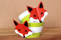 Printable 3D Fox Party Cupcake Wrapper Set  by NorthernWhimsyParty