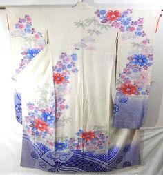 Furisode #269237 Kimono Flea Market ICHIROYA $150 L=65 StS=53 1/2