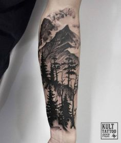 Black Ink Forest Scenery Tattoo