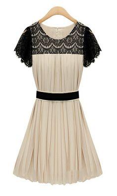 Short sleeve crochet pleated chiffon dress  9013