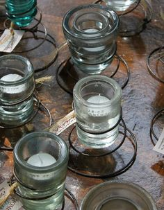 Glass Insulator Clear Tea Light Candle by HomeGrownJunkie on Etsy, $15.00