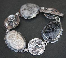coral sterling and fine silver metalwork link bracelet