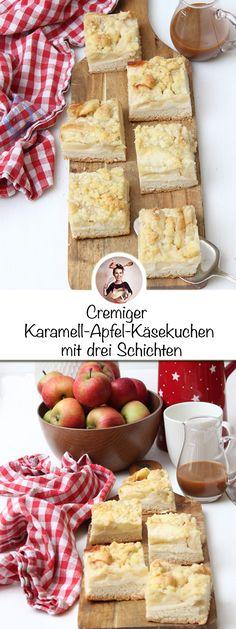 Gestreuselt, gedeckt oder versunken. Es gibt unzählige Rezeptvarianten für den deutschen Klassiker den Apfelkuchen. Da ist es gar nicht so einfach, die beste Mischung zu finden. Ich habe jetzt einen gebacken, der hat einfach die beste Mischung, und zwar einen cremigen Apfel-Karamell-Käsekuchen mit drei Schichten. #apfelkuchen #apfelkuchenrezepte #apfelkuchenrezept #apfelkuchenrezepteinfach #sonntagsistkaffeezeit Camembert Cheese, Dairy, Food, Caramel, Apple, Food Food, Meal, Essen, Hoods