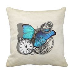 A great steam punk style design with a teal blue butterfly, silver pocket watch, chains and cogs. Looks fabulous on these quality throw pillows. #template #butterfly #butterflies #teal #blue #silver #pocket #watch #steam #punk #cogs #chains #vintage #insects #science #fiction #robots #machines #pillows #cushions #throw #scatter #home #decor #unusual #decor #bedroom #living #room
