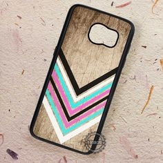 Chevron Pink Mint Red & White on Wood - Samsung Galaxy S7 S6 S5 Note 7 Cases & Covers