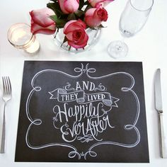 Book of 25 Tear-Out Placemats - They Lived Happily Ever After - Lily & Val