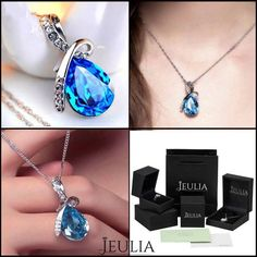 Water-drop Blue Crystal 925 Sterling Silver Necklace for Women. #jeulia #necklace #fashionjewelry