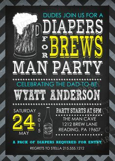 Baby Shower Invitation Diaper and Beer Party by papercleverparty