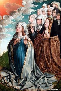 Colijn de Coter, La Virgen mediadora con Juana I. Hacía 1500. Óleo sobre tabla, 111 x 74 cm. París, Museo Nacional del Louvre.