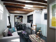 Cuisine, salle à manger et salon / Kitchen, dinning-room, living-room : http://www.maison-deco.com/petites-surfaces/amenagement-petites-surfaces/Petits-salons-et-grandes-idees