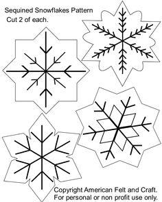 Felt+Ornaments+Patterns+Free | Sequin Snowflakes Felt Christmas Ornament Pattern | American Felt and ...