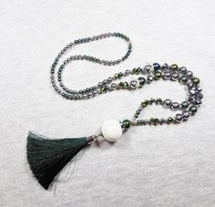 Long silk tassel necklace, Green necklace, Silver hematite necklace, Elegant necklace, Bright necklace, Czech glass necklace, Womens gift by GentleColorsJewelry on Etsy