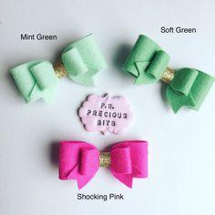 371fa49dad8f97 Spring Felt Bow Hair Clip and Rinbow Headband - Pink bow