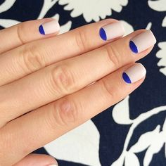 Half moon manis are better in electric blue!