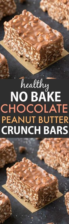 Healthy No Bake Chocolate Peanut Butter Crunch Bars (Vegan, Gluten Free) - . Healthy No Bake Schokoladen-Erdnussbutter-Crunchriegel (vegan, glutenfrei) – …… Healthy No Bake Chocolate Peanut Butter Crunch Bars (Vegan, Gluten Free) – …, butter free Healthy Candy, Healthy Sweets, Healthy Baking, Healthy Bars, Healthy Cereal, Easy Healthy Deserts, Healthy Slices, Paleo Cereal, Healthy Sweet Treats