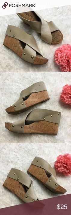 Lucky Brand Strappy Wedges Size 8 Lucky Brand Beige Strappy Wedges Size 8 good used condition spot on back of shoes as pictured, but should come clean if treated  Thank you for checking out my closet! Offers are always welcome or bundle for bigger savings. If you have any questions feel free to ask! Lucky Brand Shoes Wedges