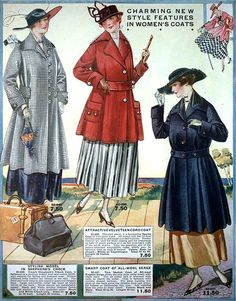 Charming New Style Features in Women's Coats,Eaton's Spring & Summer Catalog, 1917. #vintage #Edwardian #fashion