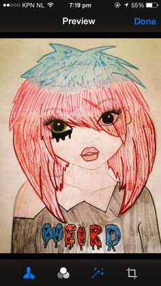 A manga emo  blue, pink, red hair and a shirt with weird!