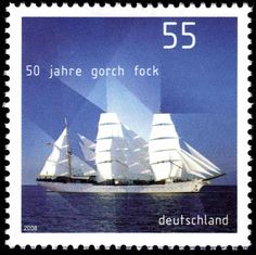 """50 years of sail school ship """"Gorch Fock"""" German Stamps, Tall Ships, Postage Stamps, Sailing Ships, Art Photography, Germany, School, Artwork, Movie Posters"""