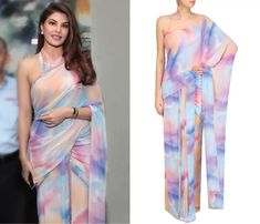 Shehla Khan Nude Pink, Purple and Blue Tye and Dye Stitched Saree With Blouse #jacquelinefernandez #nude #pink #purple #blue #tie&dye #saree #blouse #stitched #shehlakhan #perniaspopupshop