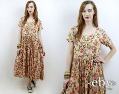#Vintage #90s Cream Semi-Sheer #Floral Maxi #Dress, fits S/M/L by #shopEBV http://etsy.me/1JMIV10 via @Etsy #softgrunge #summer #hippie
