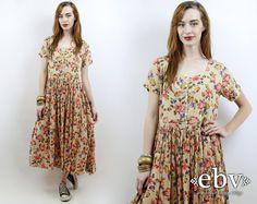 Jahrgang 90er Jahre Creme Floral Maxi Kleid S M L schier geblümten Kleid 90er Jahre geblümten Kleid Festival Kleid weichen Grunge Kleid Hippie Kleid Boho Kleid