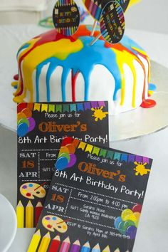 Colorful art themed birthday party! See more party ideas at CatchMyParty.com! Artist Birthday Party, 5th Birthday Party Ideas, 10th Birthday Parties, Birthday Party Decorations, Art Party, Party Time, Boy's Day, First Year, Candy Stations