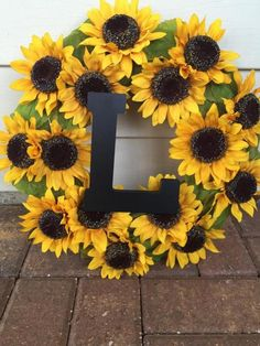 Fall Wreath Spring Wreath Summer Wreath Flower Wreath Fall Decor Sunflowers Yellow Wreath is part of Sunflower party The perfect chic summer, fall or spring wreath, on a hay base, filled with - Sunflower Room, Sunflower Party, Sunflower Wreaths, Sunflower Decorations, Sunflower Bathroom, Do It Yourself Organization, Fall Wreaths, Summer Wreath, Spring Crafts