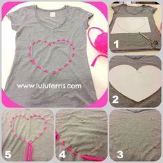 Este tutorial es perfecto para reciclar camisetas viejas o dar un aire diferente a las básicas que compremos. Los corazones y los colores fluor están de mo