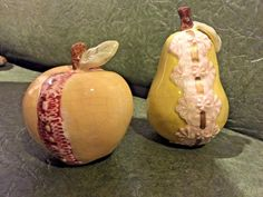 Vintage Ceramic Decorative Yellow Apple and Yellow Pear