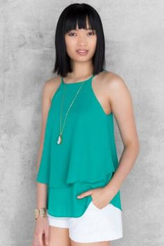Pretty tanks or blouses in jewel tones are flattering to most skin tones.