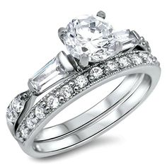 Sterling Silver CZ 1.5 carat Brilliant and Baguette Cut Wedding Ring Set 5-10