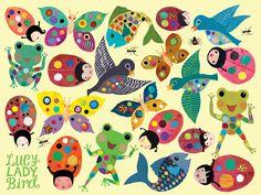 lucyladybird.com.  wallpaper, children's illustration, picture book, bird, frogs, ladybird, fish, spots, graphic, design, colour