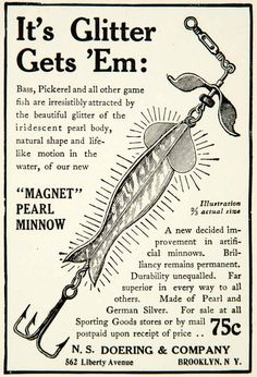 1910 Ad Magnet Pearl Minnow NS Doering 562 Liberty Ave Brooklyn NY Fishing YNS1
