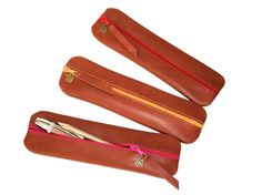 Pencil case / Pen bag / Pouch LEATHER in brown by HenrietteClaire
