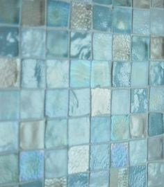 sea glass tile back splash. sea glass tile back splash. Small Shower Baths, Small Showers, Beach Bathrooms, Hall Bathroom, Master Bathroom, Glass Bathroom, Bathroom Ideas, Mermaid Bathroom, Tile Bathrooms