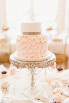 Soft Pink Two-Tier Ruffled Cake   A Little Imagination Cakes   Justin  Mary Photography   TheKnot.com