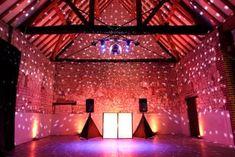 DIY Disco Barn Wedding Lighting, Barn Wedding Venue, Outdoor Lighting, Disco Lights, Dj Booth, Canopy Lights, The Monks, Paper Lanterns, Fairy Lights