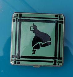 "Art Deco Vintage Enamel Green and Black ""Clarice Jane"" Metal Ladies Compact"