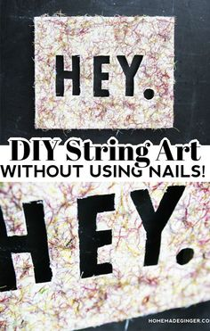 Make a DIY string art canvas without using any nails. This string art craft is so easy and fun to make!