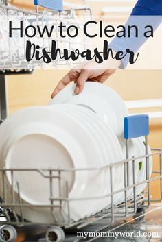 Learn how to clean a dishwasher to get rid of food odors and stains with these easy cleaning tips. You can clean your dishwasher naturally with items you already have in your pantry, like vinegar and baking soda. See just how easy it is to have a clean dishwasher again with these dishwasher hacks.