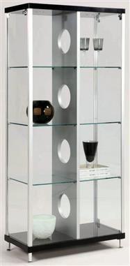 Modern Silver Black Gl Curio W 2 Side Doors Locks Kitchen Display Cabinet
