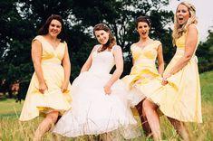 Mustard Yellow Photography | Sarah & Joe's English Church Wedding and Barn Reception   Bridesmaids in yellow dresses- field photos!