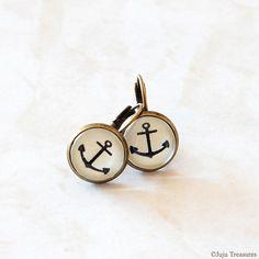 Anchor Earrings. Nautical Jewellery, Vintage Inspired.  Sea, Ocean, Beach, Summer.. $17.00, via Etsy.